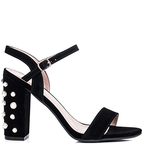 SPYLOVEBUY COCO Women's Embellished Pearl High Heel Strappy Sandals Shoes Black Suede Style QVjzpG8o0q
