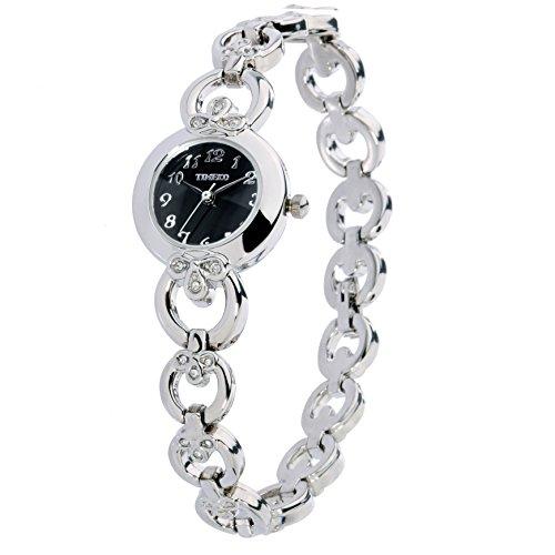 Mosaic Show Silver Quality (Time100 Women's WatchesBracelet Diamond Oval Dial Ladies Fashion Dress Quartz Wrist Watch (Black-2))