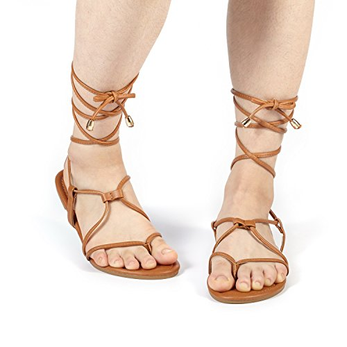 DREAM PAIRS Women's Sammy_02 Tan Fashion Gladiator Design Lace up Flat Sandals Size 8 M US
