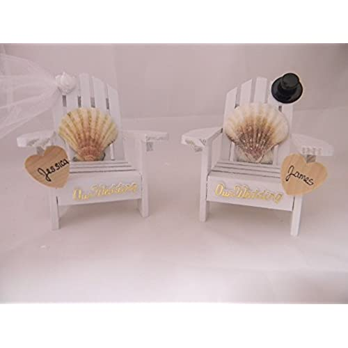 Wedding rehearsal dinner decorations amazon wedding reception adirondack chairs beach real seashell names cake topper junglespirit Choice Image