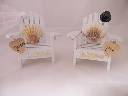 Wedding Reception Adirondack Chairs Beach Real Seashell Names Cake (Beach Themed Cake Toppers)