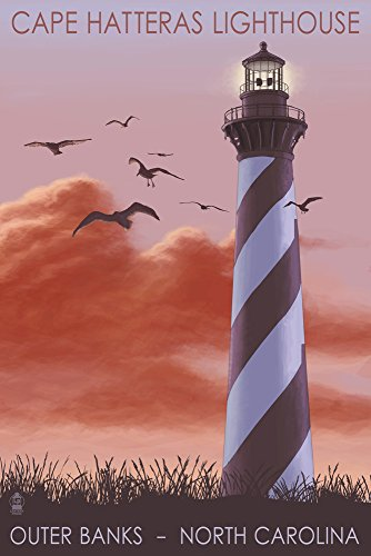 Cape Hatteras Lighthouse Canvas - Outer Banks, North Carolina - Cape Hatteras Lighthouse - Sunrise (9x12 Art Print, Wall Decor Travel Poster)