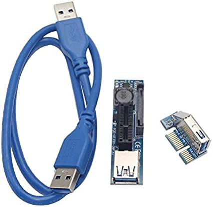 Computer Cables Yoton 0.3m//0.6m UEX101 PCI-E x1 to x1 Extension Riser Card PCI Express Adapter with USB3.0 Cable Cable Length: 0.6m