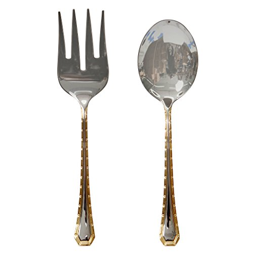 - Italian Collection 'Damascus' 2-Pc Premium Silverware Flatware Serving Set, 18/10 Stainless Steel Gold Plated Dining Set