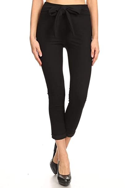 77b6ff0c6980ea ShoSho Womens Cropped Skinny Pants Slim Fit Stretchy Bottoms with Waist Tie  Twill Knit Solid Black