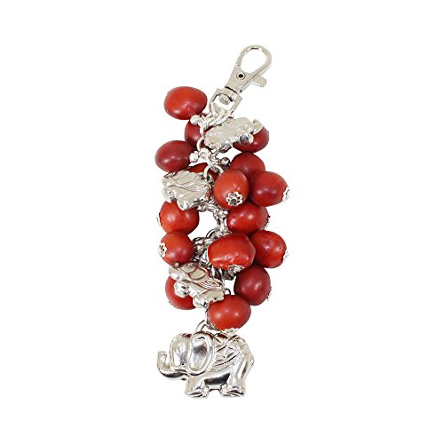 (Peruvian Elephant Easy Clasp Keychain for Women - Huayruro Red Seed, Good Luck, Healing,)