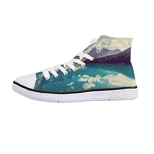 Landscape Stylish High Top Canvas Shoes,Moraine Lake in Banff National Park in Canada High Peaks and Trees Image for Men & Boys,US 8