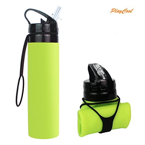 PlayCool Collapsible Water Bottle, YUANFENG 20oz BPA-Free Leak-Proof Lightweight Silicone Sports Travel Camping Water Bottles
