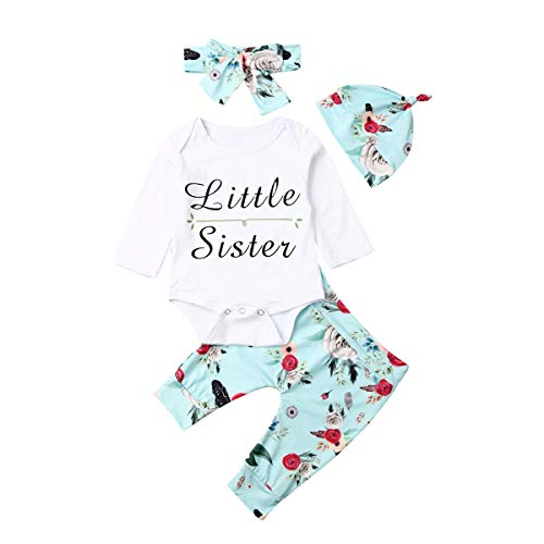 Newborn Baby Girls Clothes Little Sister Letter Long Sleeve Rompers + Floral Pants+Hat + Headband 4Pcs Clothes (6-9 Months, Blue)