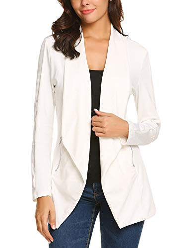Zeagoo Women Long Sleeve Open Front Asymmetrical Hem Casual Blazer Oversize Zipper Suit Coat Jacket Outwear White/XL
