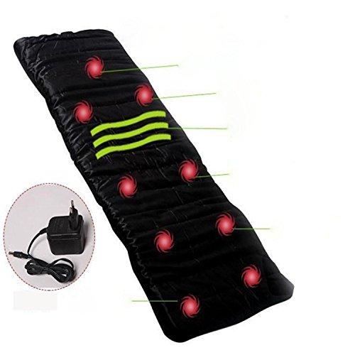 Body Massage Mattress Heated Massager With Remote Control Cushion Foldable?Black?