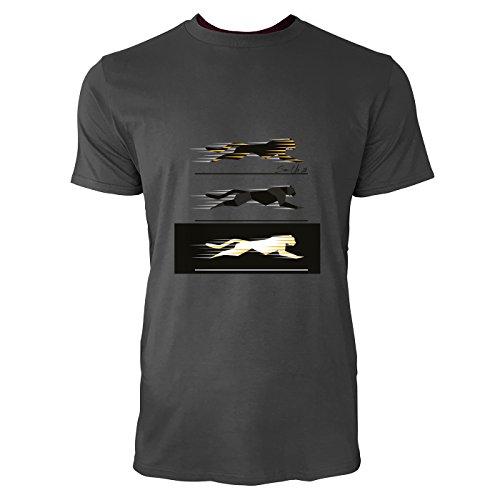 SINUS ART® Umriss einer rennenden Raubkatze Herren T-Shirts in Smoke Fun Shirt mit tollen Aufdruck