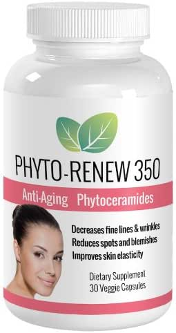 Phyto-Renew 350 Anti Aging Skin Care Supplement – Ultra Potent Phytoceramides Boost Collagen Production, Reduce Fine Lines & Wrinkles, Improve Skin Elasticity – Better & Safer than Botox with No Painful Injections – All Natural Skin Care Turns Back the Clock and Restores Youthful Beauty!