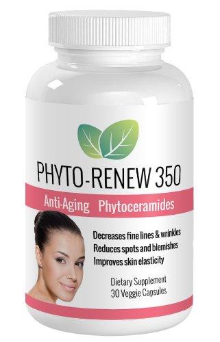 Phyto-renouveler 350 Anti Aging Skin Care Supplement - Ultra puissant Phytoceramides augmenter la Production de collagène, réduire les fines lignes & rides, améliorer l'élasticité de la peau - mieux & plus sûr que le Botox avec aucune Injections d