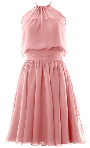 Chiffon Cocktail Dress Party Gown Women Halter Bridesmaid Short Zartrosa MACloth Formal wER6BZqxZ