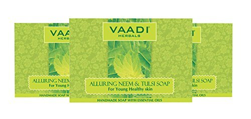 Neem Tulsi Bar Soap with Aloe Vera Extracts, Vitamin E and Tea Tree Oil - Handmade Herbal Soap with 100% Pure Essential Oils - ALL Natural - Each 2.65 Ounces - Pack of 3(8 Ounces) - Vaadi Herbals
