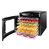 Chefman Food Dehydrator Machine, Touch Screen Electric Multi-Tier Food Preserver, Meat or Beef Jerky Maker, Fruit Leather, Vegetable Dryer w/ 6 Slide Out Drying Rack Trays & Transparent Door, Black