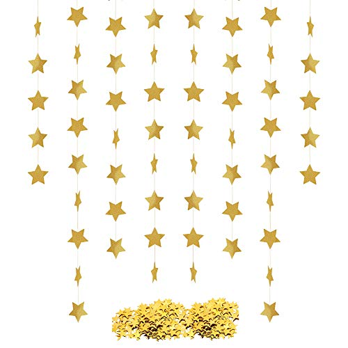 Star Confetti Banner Garland Star Table Confetti Bunting Banner Metallic Star Sequin Twinkle Sparkling Gold Silver Glitter Hanging Banner Party Decorations Golden 4 Pack Banner 1.1 Ounce Confetti ()