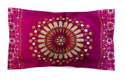 Moroccanity Funda de cojín de Estilo marroquí con patrón geométrico de Seda Jacquard de 70 x 50 cm, Seda sintética, Rosa y Dorado, 70 x 50 cm