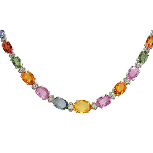 34.11 Carat Natural Multicolor Ceylon Sapphire, Diamond (F-G Color, VS1-VS2 Clarity) 14K White Gold Luxury Tennis Necklace for Women Exclusively Handcrafted in USA (Sapphire 14k Multi Color)
