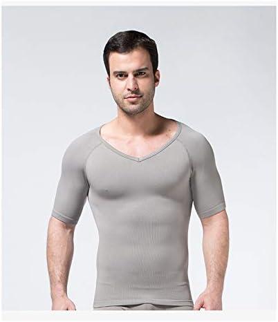 ジムのためにメンズボディシェイパーウエストベルトスリミングボディニッパー下着圧縮Vネックシャツおなかコントロールウエストトレーナー
