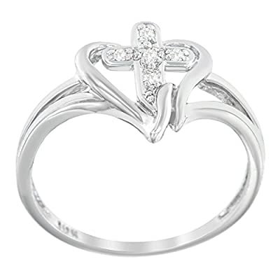 10K Yellow Gold Cross Round-Cut Diamond Accent Ring (0.03 cttw, H-I Color, I1-I2 Clarity) by VJG