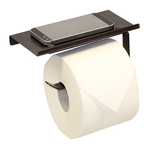 Neater Nest Reversible Toilet Paper Holder with Phone Shelf, Modern Style (Oil Rubbed Bronze, (Phone Oil)