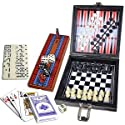Life Style Products 6-in-1 Travel Board Games w/Leatherette Case - Play 6 Board Games in One Case!