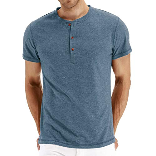 SSYUNO Men's Casual Button Hole Short Sleeve Henley T-Shirts Cotton Shirts Blue