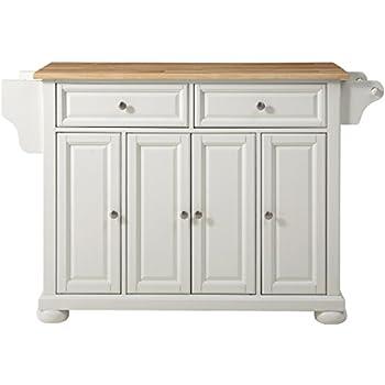 Elegant Crosley Furniture Alexandria Kitchen Island With Natural Wood Top   White