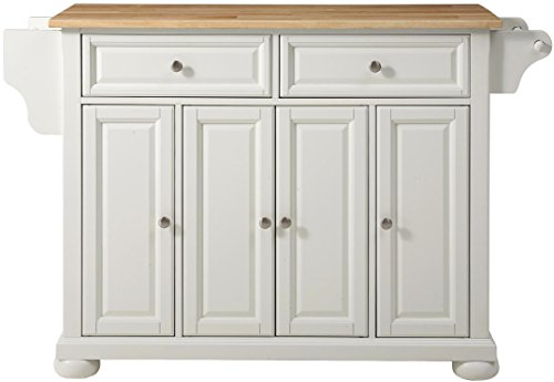 Crosley Furniture Alexandria Kitchen Island with Natural Wood Top - White (White Kitchen Off Island)