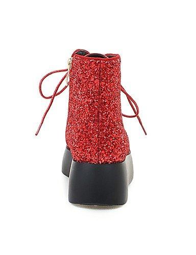 Damen Schwarz Kleid silver 5 Spitzschuh Rot Lässig Glanz Stiefel eu38 cn38 Stiefel Plateau Modische 5 Silber uk5 Büro XZZ us7 Armeestiefel gSwndPx6qg
