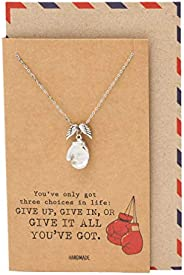Quan Jewelry Sporty Necklace with Guardian Angel Wing and Boxing Gloves Pendant, Boxer Gifts for Men and Women
