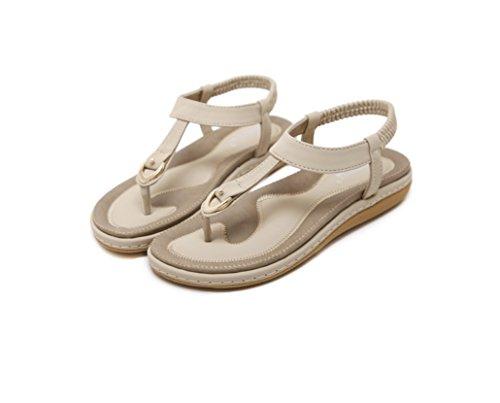 Piatti Zhhzz Elasticizzata Colore Albicocca Elastico Tinta Sandali Unita Pantofola Fibbia Liangxie Con Estate Lunga 1qwUAxn