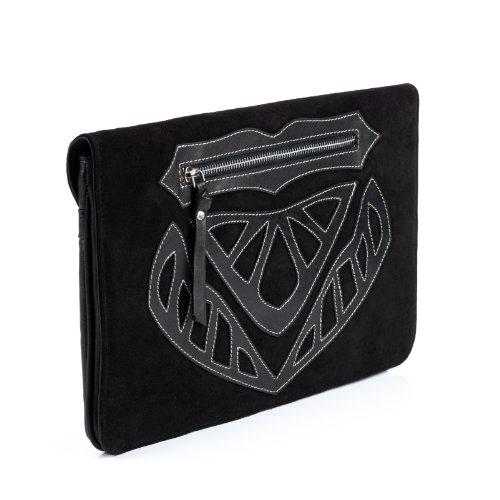 FEYNSINN Clutch ISSA - Abendtasche groß fit für iPad 2 & 3 - Unterarmtasche Boho - echt Leder schwarz