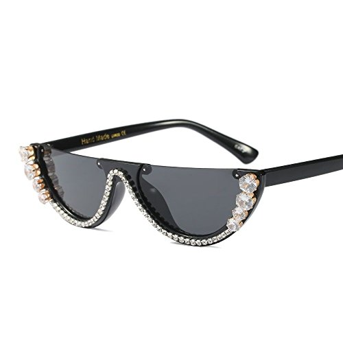 Gafas Moda Sunglasses de Sombras Negra Regalo Strass Verano Cat de Fría Mitad para la Eye Bastidor sin Moda de Mujeres Sol de Mujeres Reborde TL de 0TExfqwx