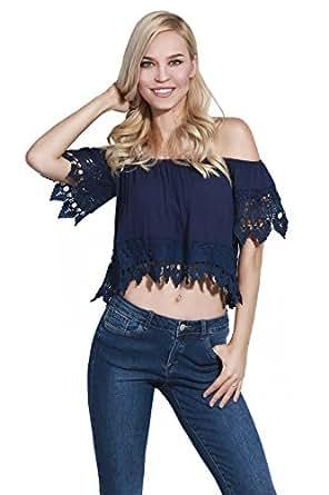 adam & eve® - Mujeres Crinkle fuera del hombro Crochet Trimmed Crop Blusa, Tops para las mujeres (Medio/Medium, Azul marino)