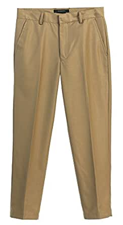 Gioberti Boys Flat Front Dress Pants, Khaki, 2T