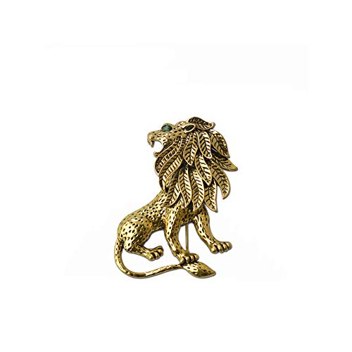 WLLAY Vintage Gold Animal Lion Brooch Pin Cool Men's Jewelry