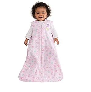 HALO SleepSack Cotton Pink with Birds and Flower Print, Small