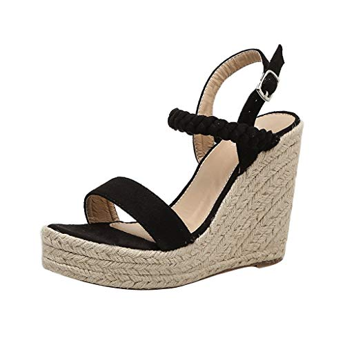 ◕‿◕ Watere◕‿◕ Women's Fashion Wedge Sandals,Women Sexy Wedge Sandals Pumps Platform High Heels Woven Hemp Loop Shoes Black ()