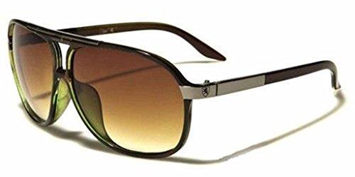 [Mens Womens Retro Vintage 80s Classic Fashion Designer Aviator Sunglasses Black-Brown Green] (80s Fashion Men)