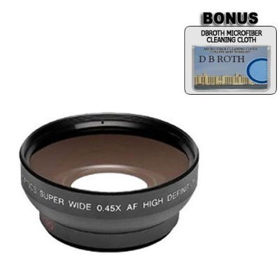 0.5 Xデジタル広角マクロプロフェッショナルシリーズレンズ+ DB ROTH Micro Fiber Cloth For The Canon Optura 200 MC、100 MC, 10 Mini DVビデオカメラ   B0026ROGUU
