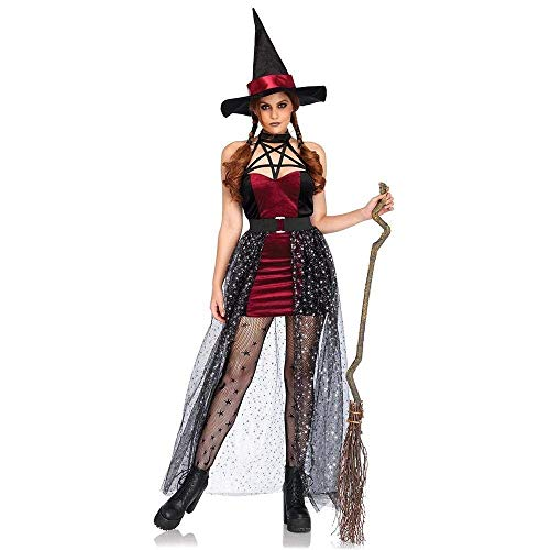 Fashion-Cos1 Women Black Red Funny Naughty Magic Moment Evil Elf Witch Fancy Dress Sexy Sorceress Costume Halloween Party Club Role Play -