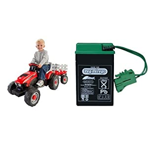 Peg-Perego-Case-IH-Little-Tractor-and-Trailer-with-6-Volt-Replacement-Battery-Bundle