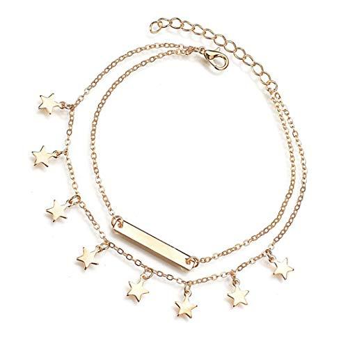 Eternal-Z Women Star Tassels Bar Anklet Bracelet Fashion Beach Double Layer Foot Chain Jewelry for Girls (Gold)