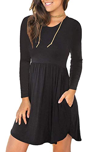 YUNDAI Women's Long Sleeve Loose Plain Dresses Casual Short Dress with Pockets Size M, Black