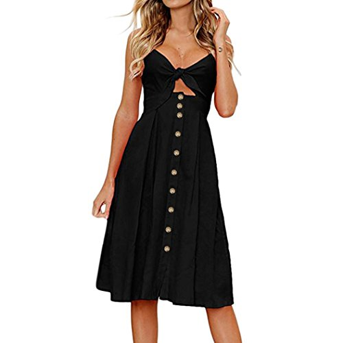 iTLOTL Womens Holiday Bowknot Lace up Ladies Summer Beach Buttons Party Dress(XL,Black)