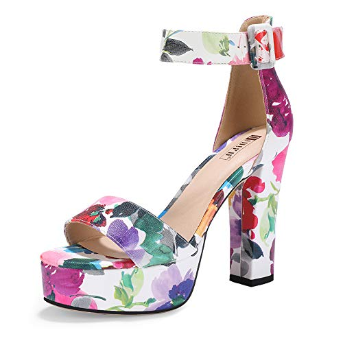IDIFU Women's IN5 Sabrina Ankle Strap Platform High Chunky Heels Party Sandal (8.5 M US, Floral Purple)