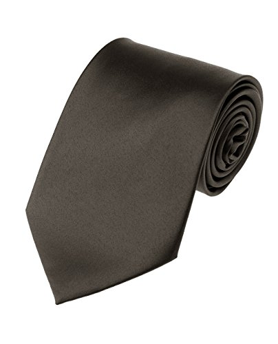 Men's Smooth Satin Solid Color Extra Long XL Necktie, Charcoal Gray - Charcoal Grey Necktie